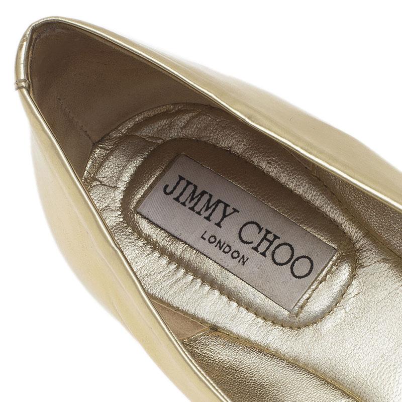 Jimmy Choo Metallic Gold Leather Morse Buckle Detail Ballet Flats Size 37.5