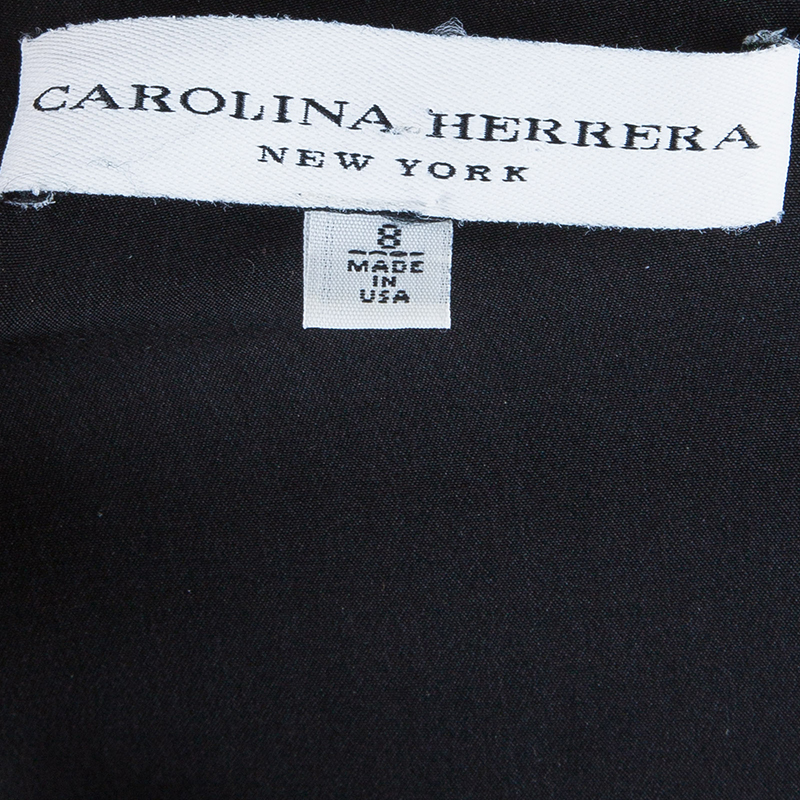 Carolina Herrera Black Ruffle Neck Dress M