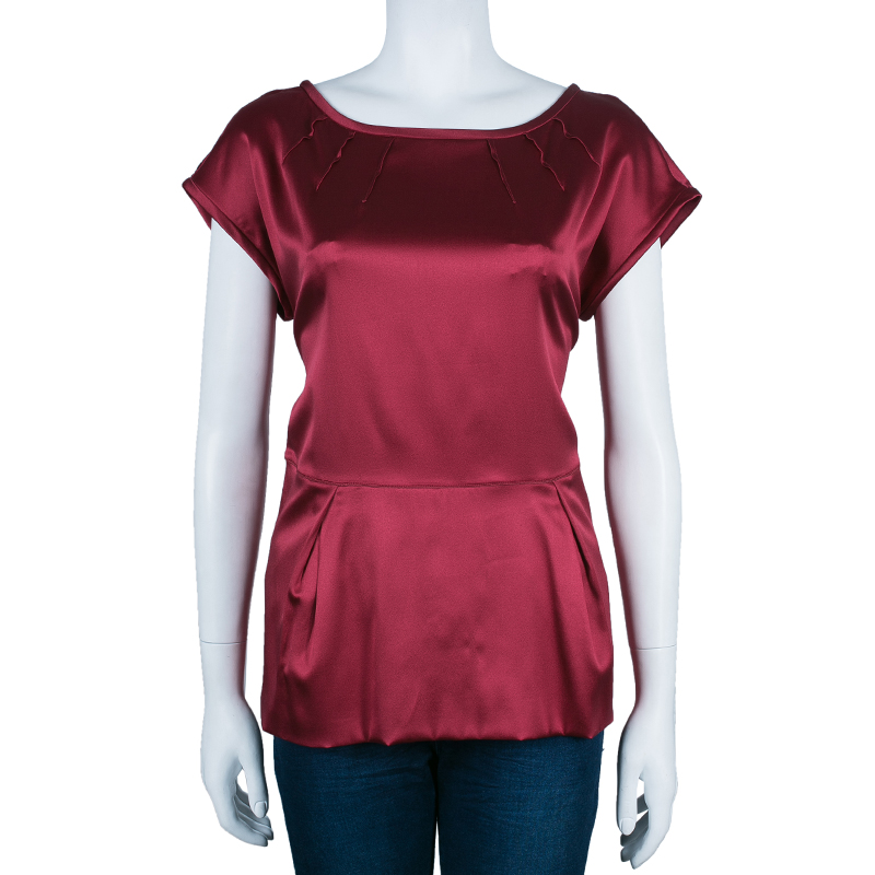 Dolce and Gabbana Red Satin Short Sleeve Top M