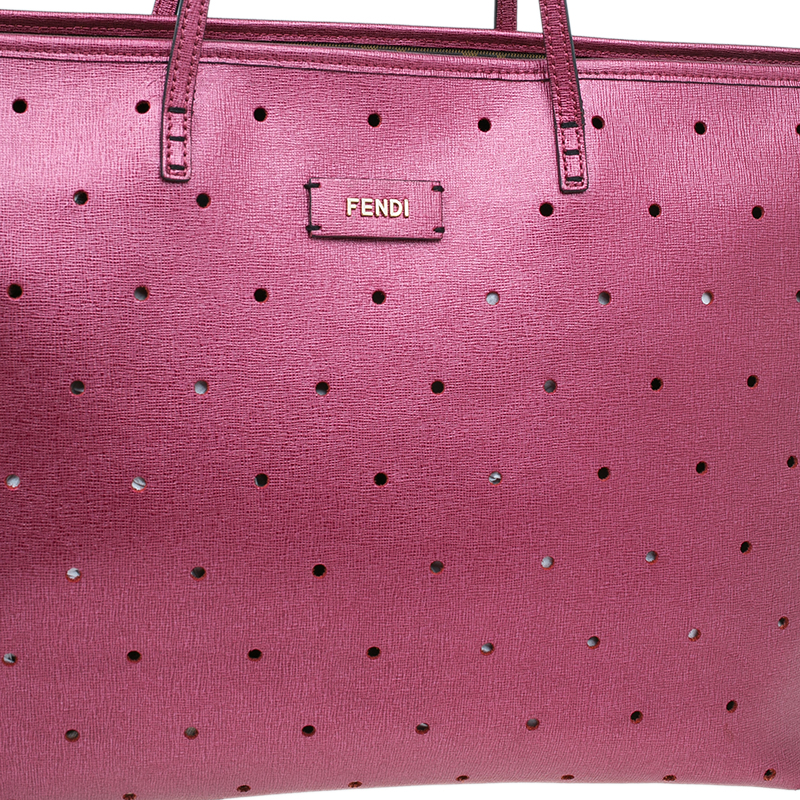 Fendi Metallic Purple Perforated Leather Roll Tote Bag W/ Pouch