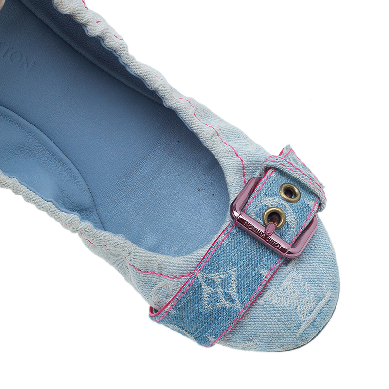 Louis Vuitton Monogram Denim Buckle Ballet Flats Size 39