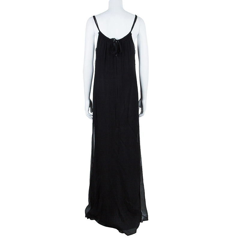 Vera Wang Black Sleeveless Belted Maxi Dress L