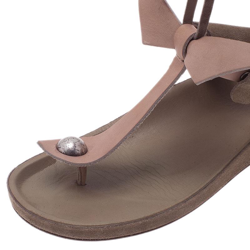 Isabel Marant Beige Elva Bow Tie Thong Sandals Size 37