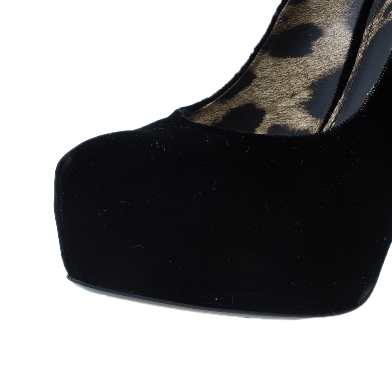 Dolce and Gabbana Black Velvet Platform Pumps Size 37
