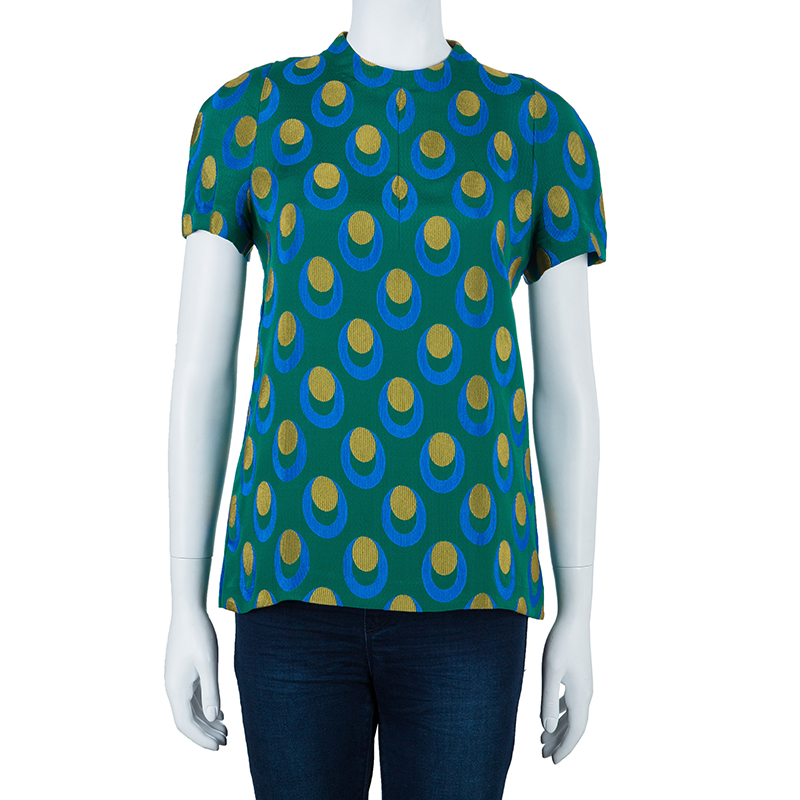 Marni Green Dotted Short Sleeve Top S