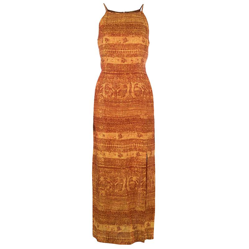 Escada Orange Linen Maxi Dress S