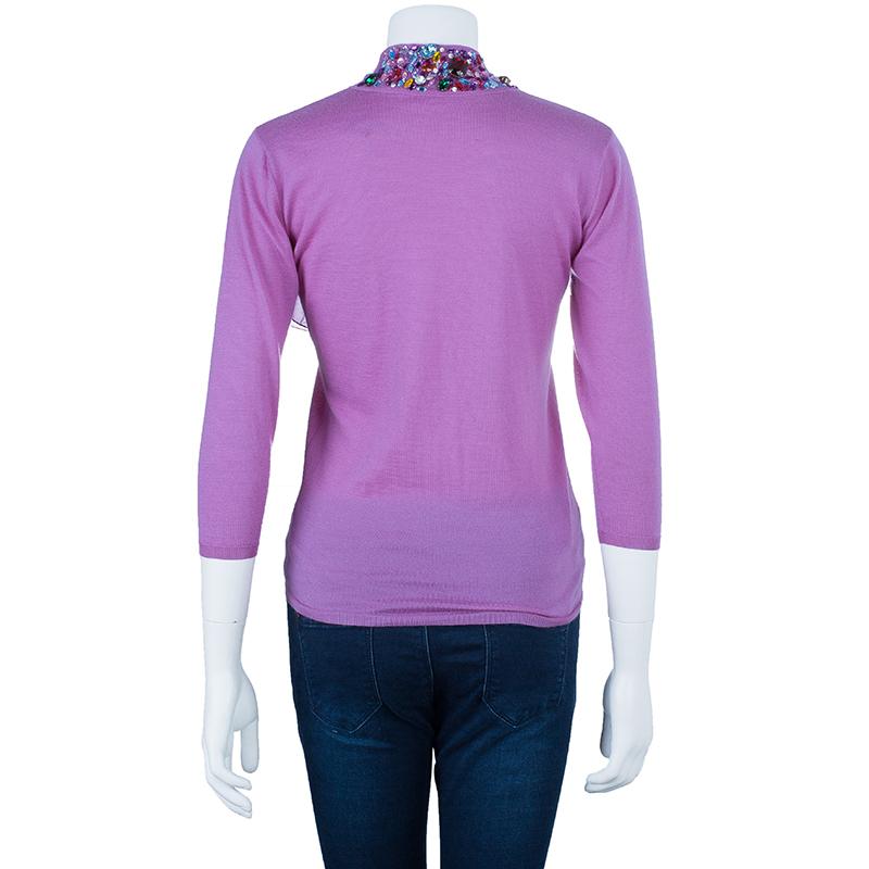 Dior Fuschia Embellished Sweater S