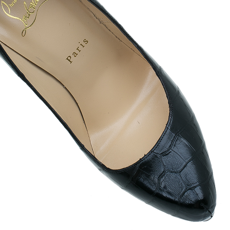 Christian Louboutin Black Crocodile Daffodile Pumps Size 40