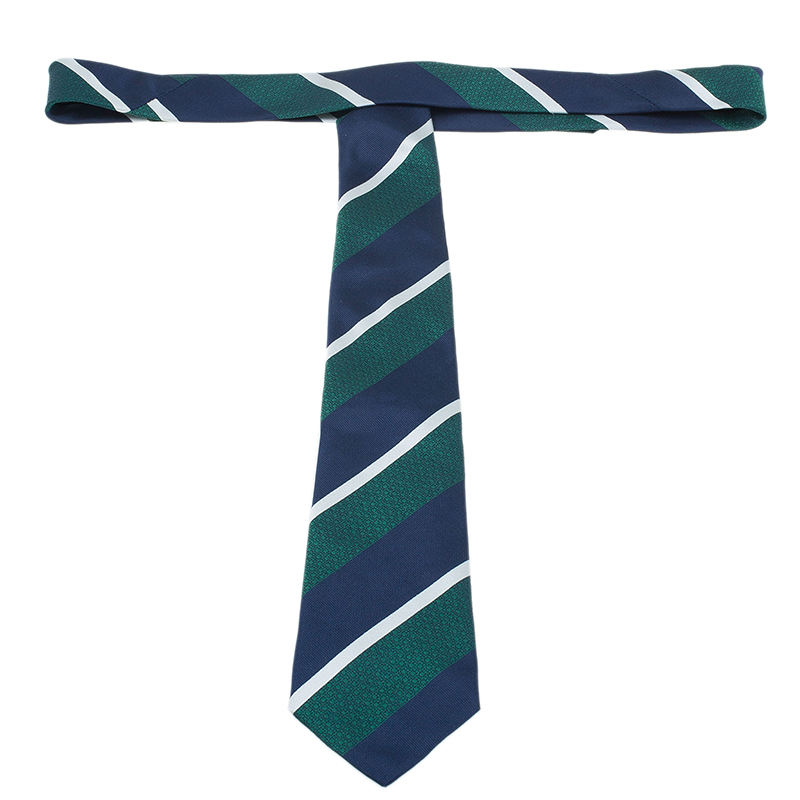 CH Carolina Herrera Green and Blue Striped Silk Tie