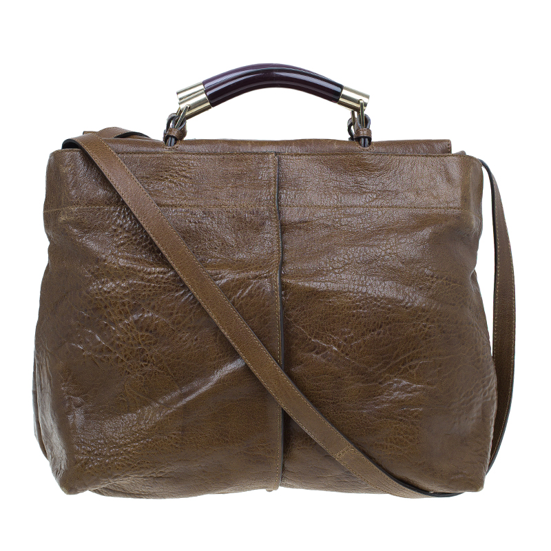 Chloe Brown Leather Saskia Square Tote Bag