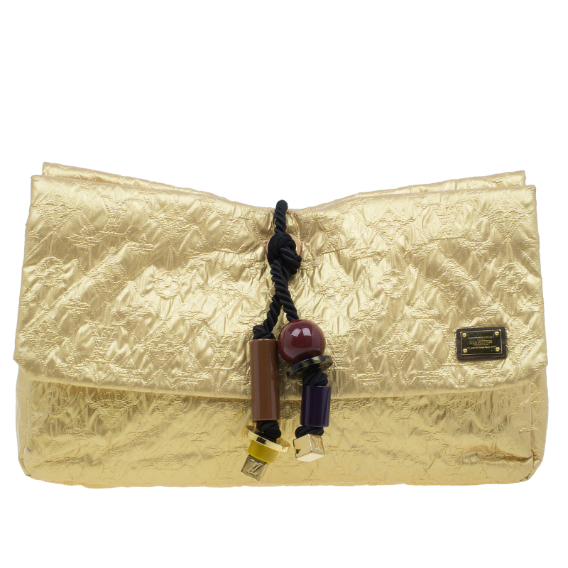 Louis Vuitton Gold Monogram Coated Fabric Limited Edition Limelight African Queen Clutch Bag