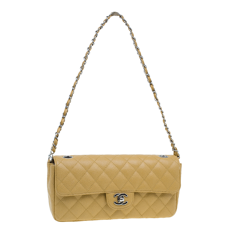 Chanel Beige Quilted Lambskin East West Flap Bag
