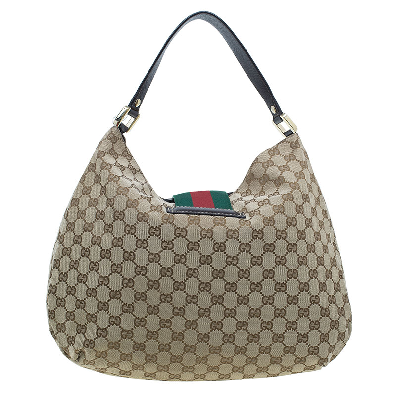 Gucci Beige Monogram Canvas Large Ladies Web Hobo