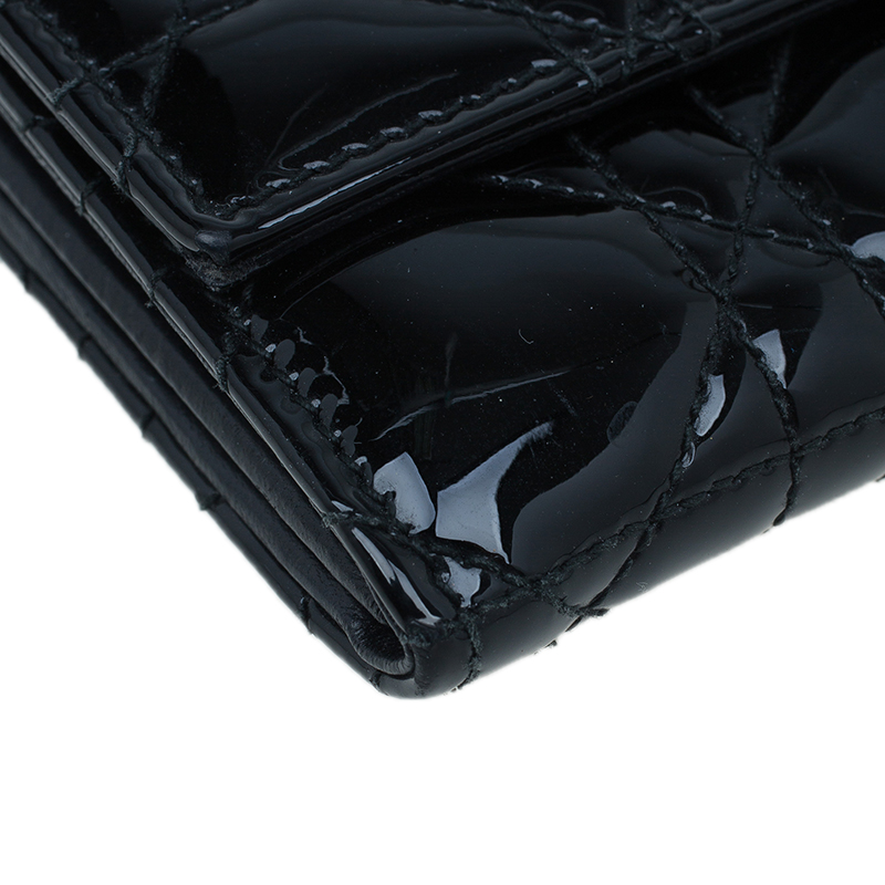 Dior Black Patent Quilted Wallet