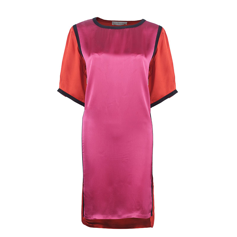 Stella McCartney Red and Pink Satin Dress S