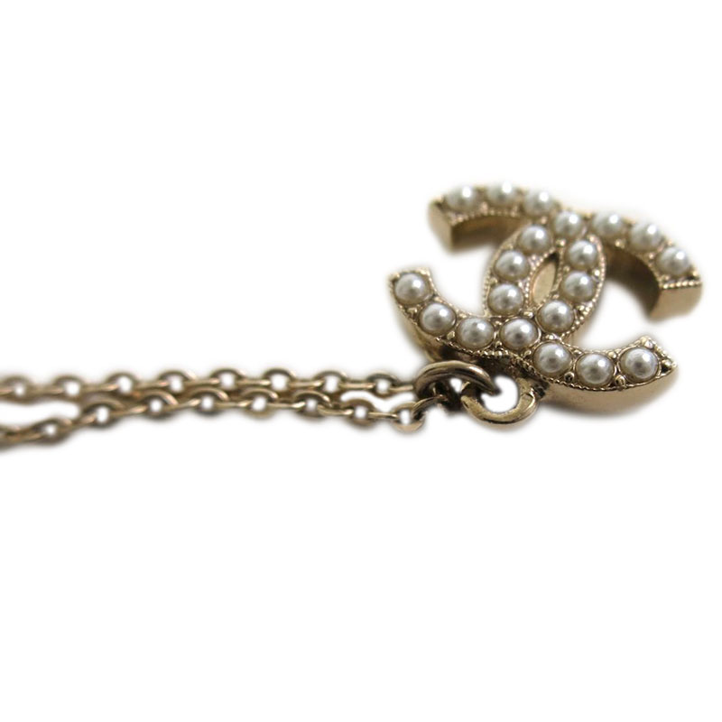 Chanel CC Crystal Resin Gold Tone Long Pendant Necklace