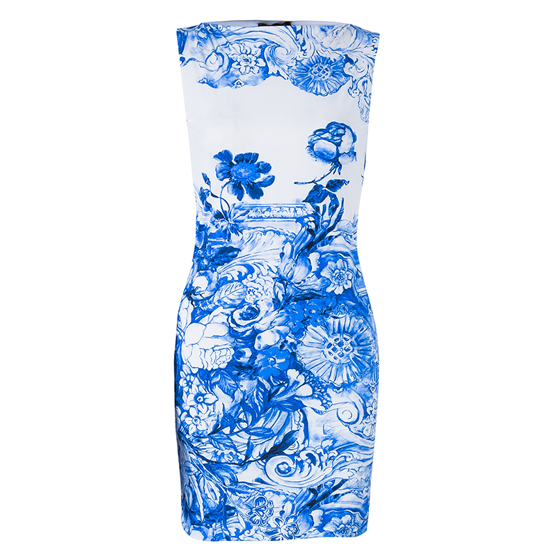 Roberto Cavalli Blue Printed Sleeveless Dress S