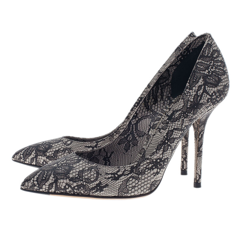 Dolce and Gabbana Black Lace Print Pointed Toe Pumps Size 38