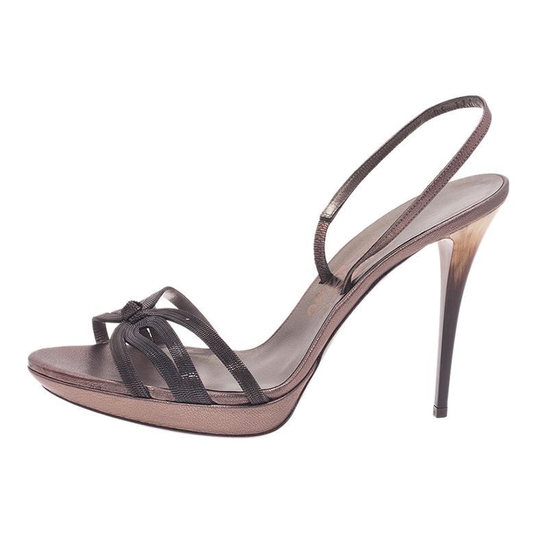 Salvatore Ferragamo Grey Leather Gangy Slingback Sandals Size 40