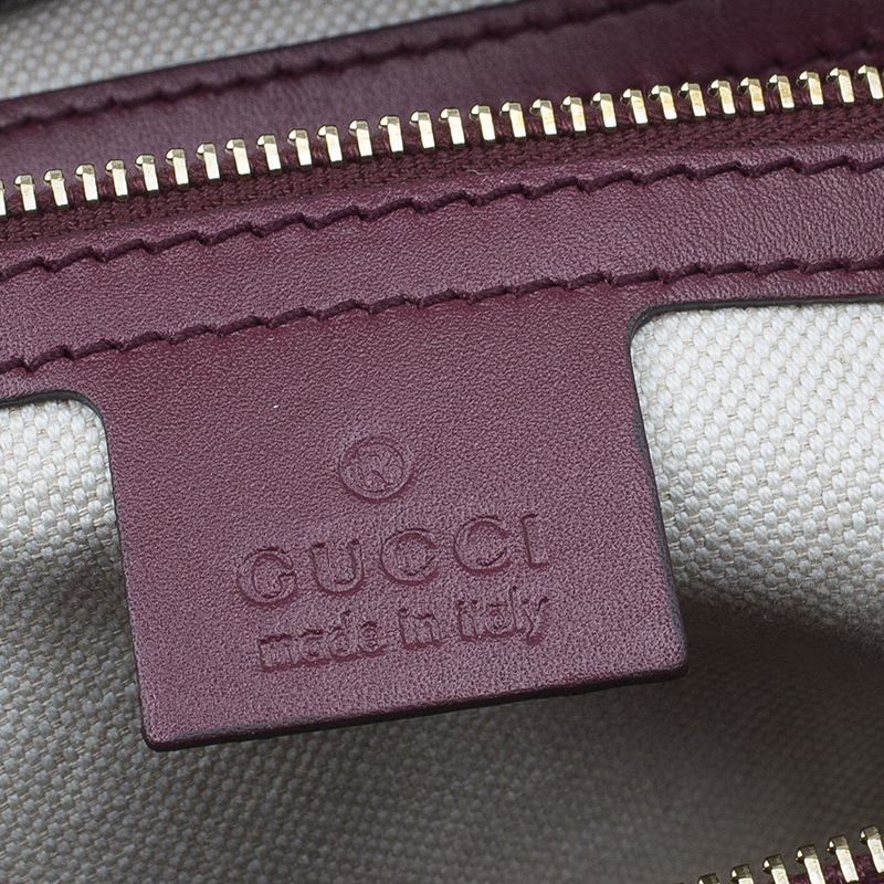 Gucci Purple Monogram Leather/Canvas Medium Mayfair Bow Top Handle Bag