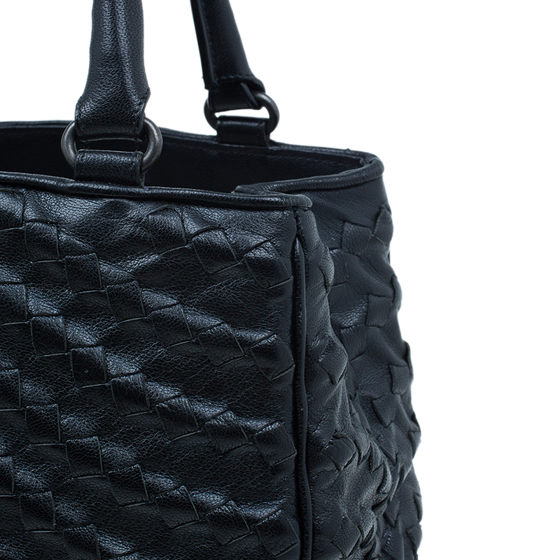 Bottega Veneta Black Leather Large Intrecciato Maggiore Tote