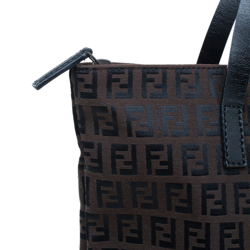 Fendi Chocolate Zucchino Canvas Shopper Zip Tote Bag