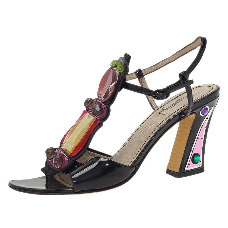 Saint Laurent Paris Multicolor Embellished Block Heel Sandals Size 37.5