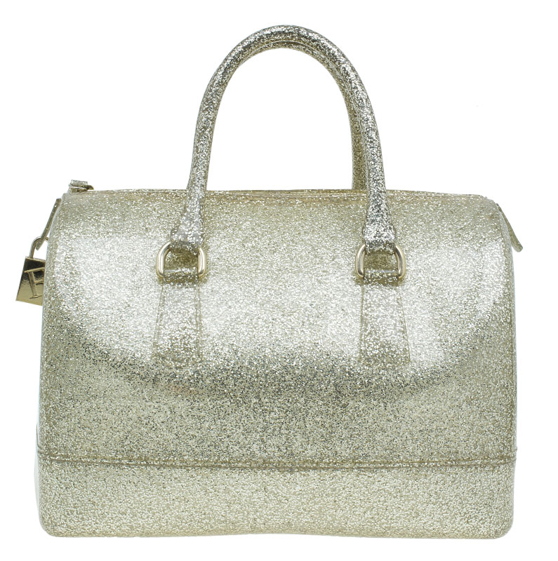 Buy Furla Gold Glitter Rubber Candy Satchel Bag 40516 At Best Price
