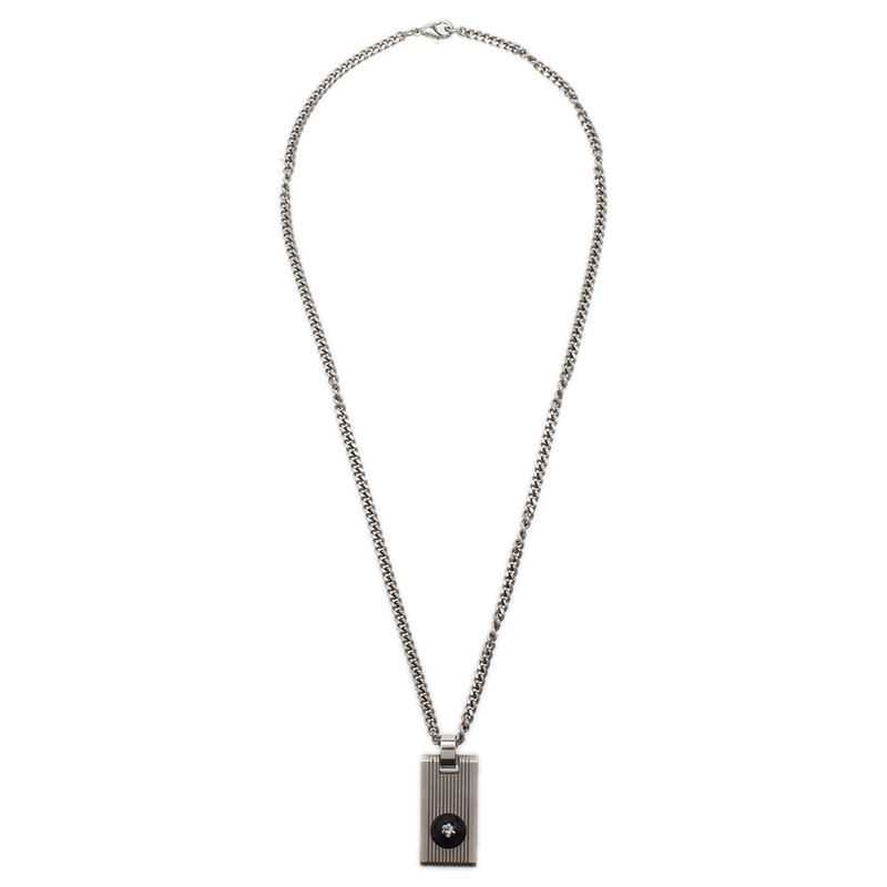 Montblanc Diamond Stainless Steel Pendant Necklace