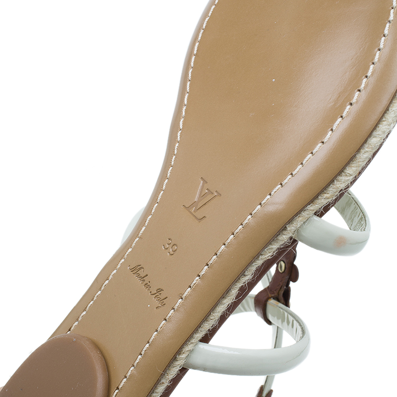Louis Vuitton Brown and White Leather Bagatelles Sandals Size 39