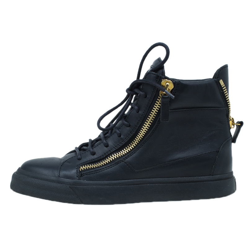 Giuseppe Zanotti Black Leather High Top Sneakers Size 39
