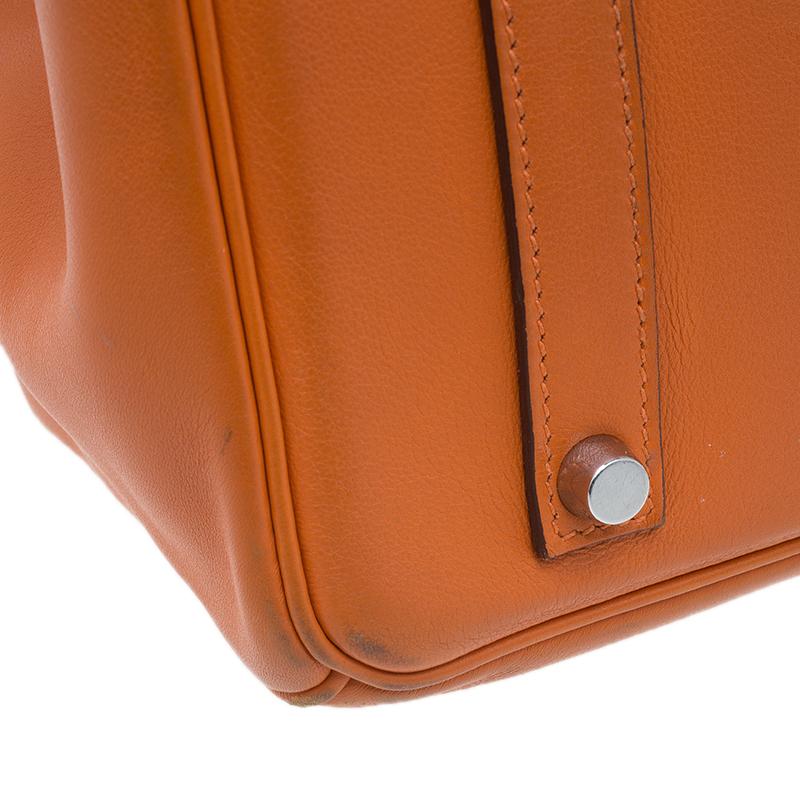 Hermes Orange Swift Leather Palladium Hardware Birkin 35 Bag