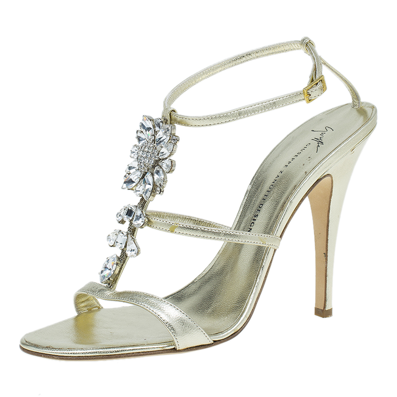 Giuseppe Zanotti Gold Embellished Leather T Strap Sandals Size 41