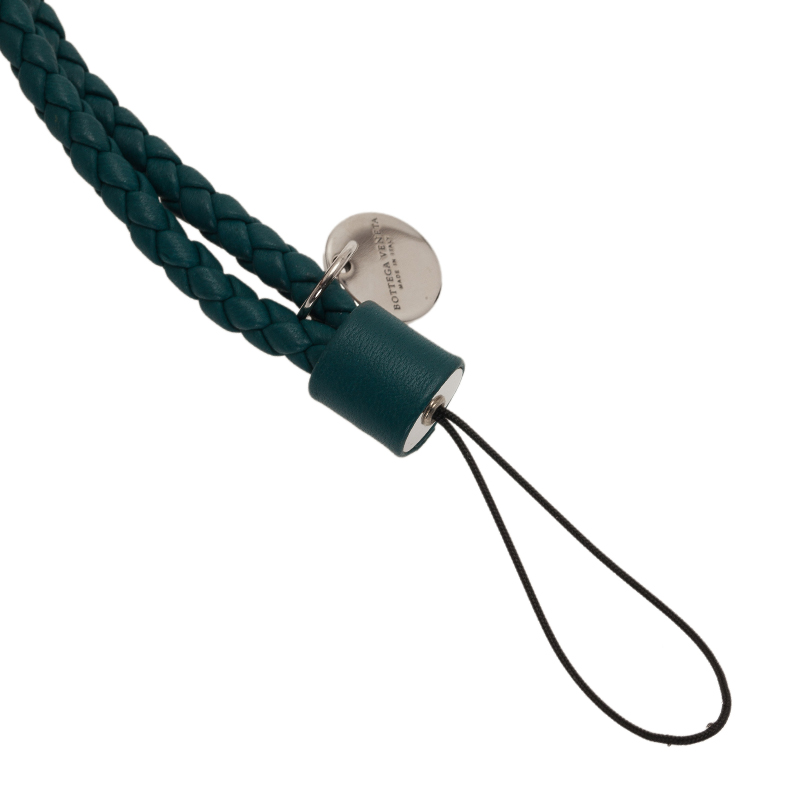 Bottega Veneta Green Intrecciato Leather Phone Strap