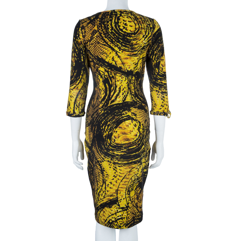 Just Cavalli Honeycomb Print Bodycon Dress L