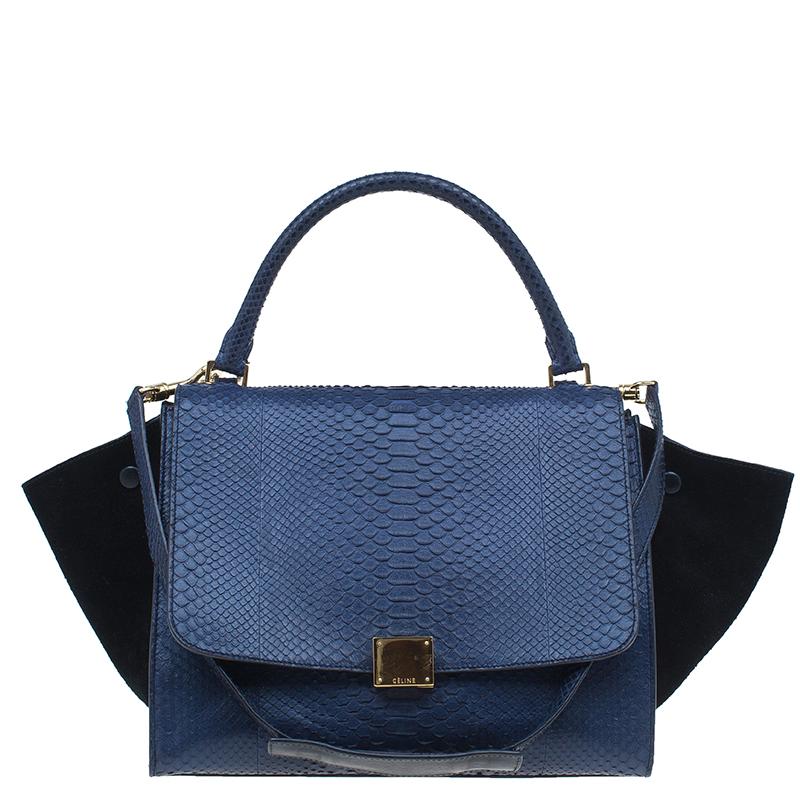 ... Celine Navy Blue Python Suede Medium Trapeze Bag. nextprev. prevnext