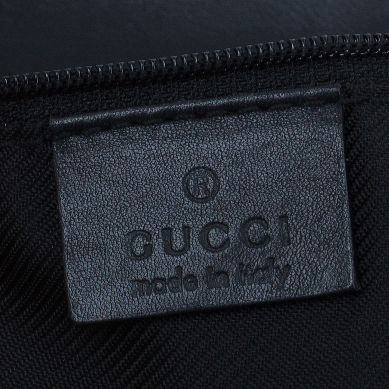 Gucci Black Monogram Canvas Bucket Tote Bag