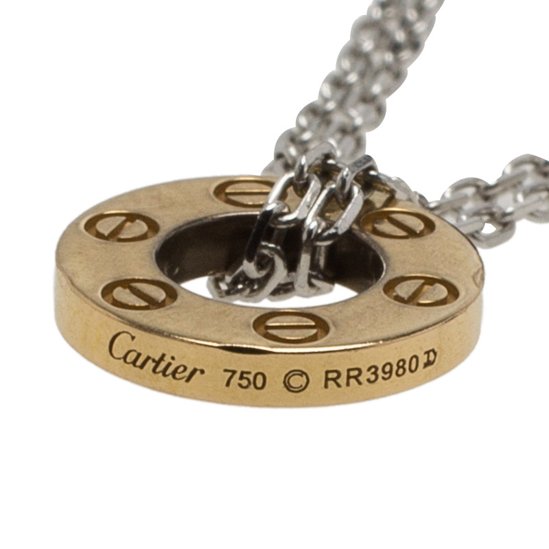 Cartier Love 3 Hoops White and Rose Gold Diamond Double Chain Necklace