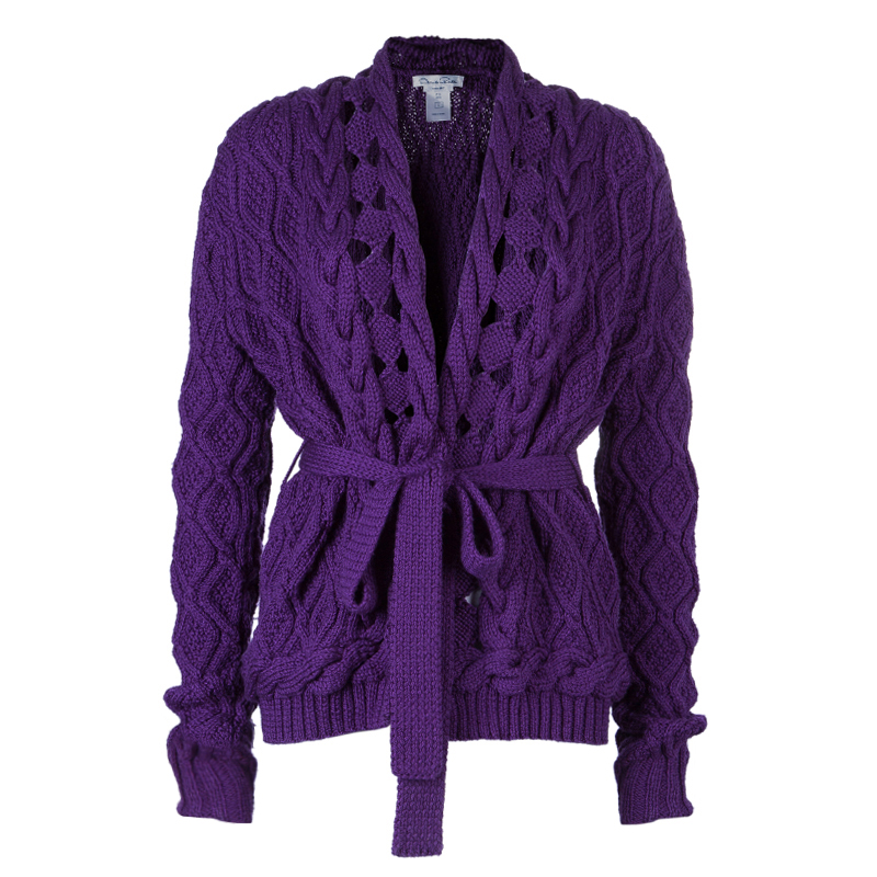 Oscar De La Renta Purple Cable Knit Wool Cardigan L