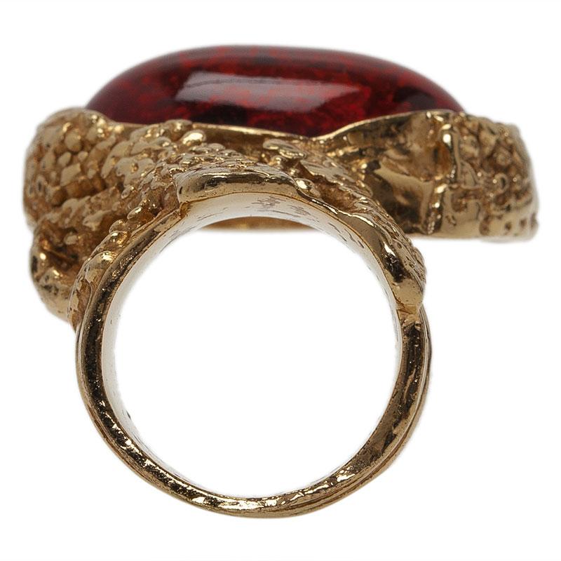 Saint Laurent Paris Arty Red Gold Tone Ring Size 49