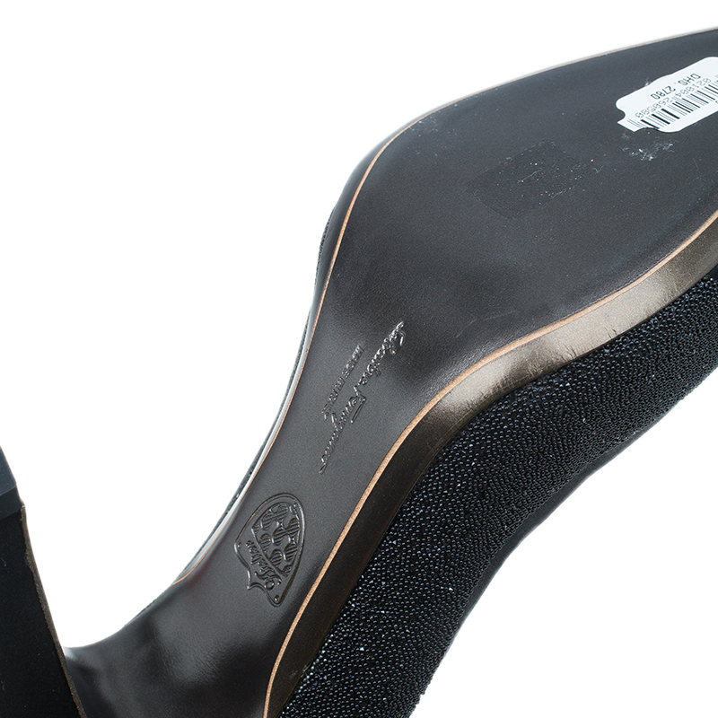 Salvatore Ferragamo Black Satin Riflessa Pumps Size 42