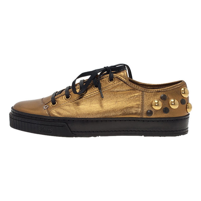 Gucci Golden Leather Babouska Studded Praga Sneakers Size 38.5