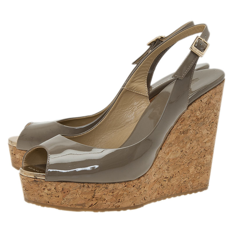 Jimmy Choo Grey Patent Prova Slingback Cork Wedge Sandals Size 38