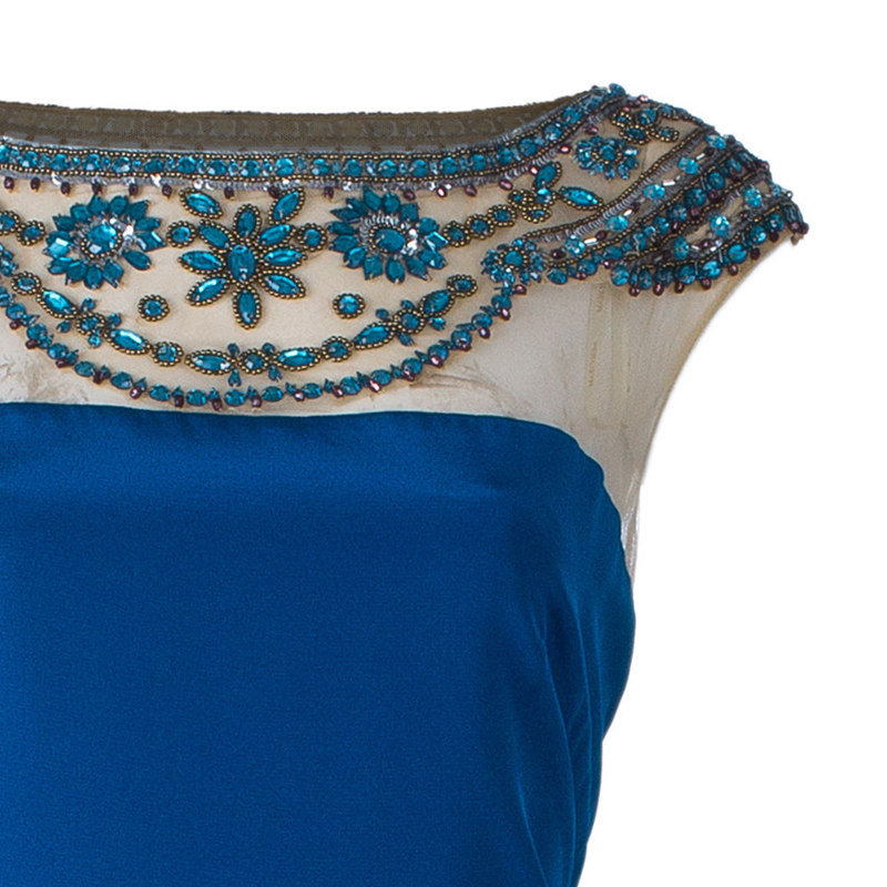 Notte By Marchesa Blue Embellished Gown L