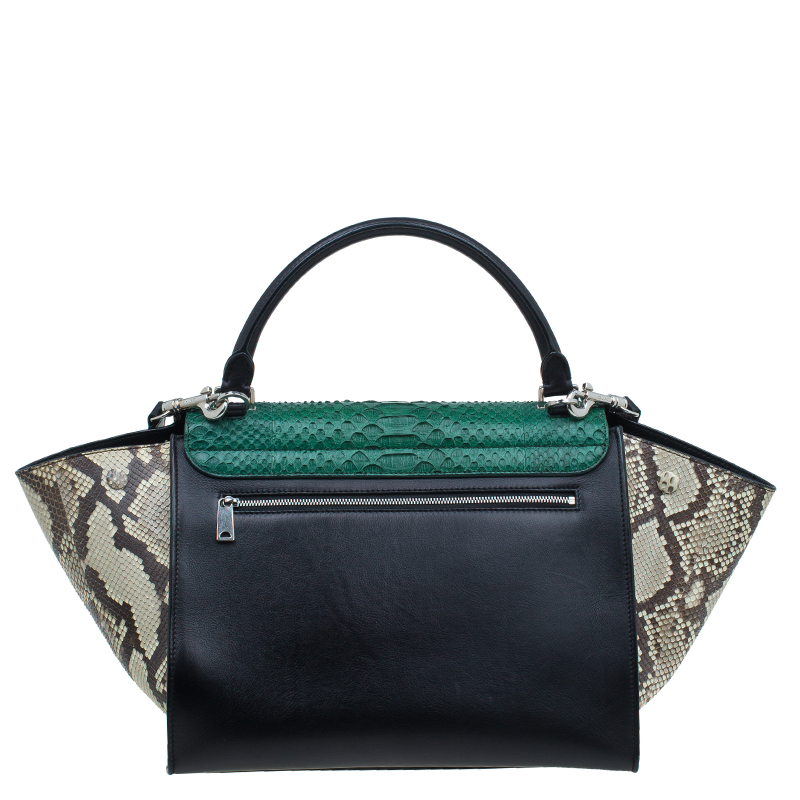 Celine Tri Color Python and Leather Medium Trapeze Bag
