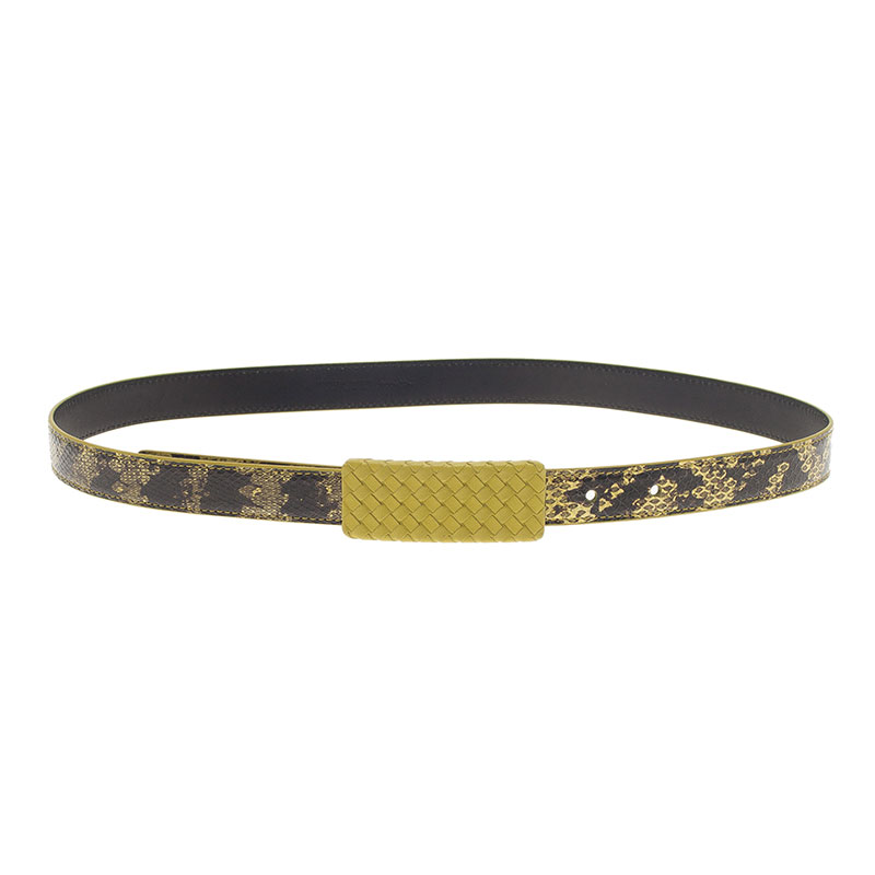 Bottega Veneta Yellow and Black Snakeskin Belt 80CM