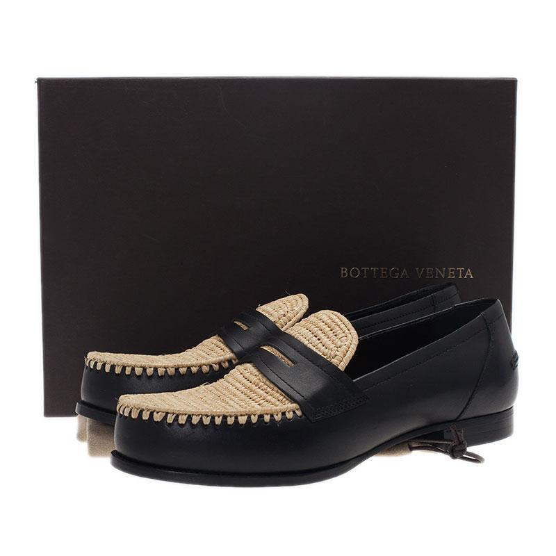 Bottega Veneta Black Leather and Raffia Loafers Size 39