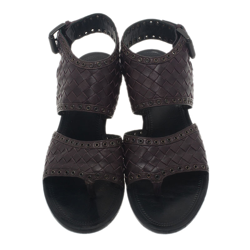Bottega Veneta Brown Intrecciato Leather Buckle Sandals Size 36.5