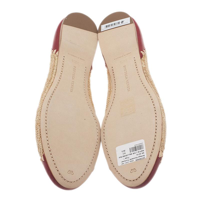 Bottega Veneta Two-Tone Raffia Ballet Flats Size 39.5