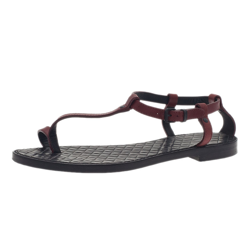 Bottega Veneta Red Leather Toe Ring Sandals Size 37